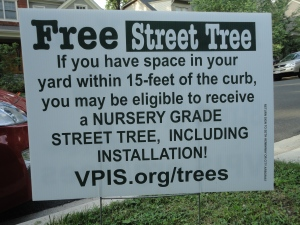 Falls Church successfully uses these signs to recruit planting spaces