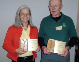 Master Naturalist Mary McLean and TreeSteward Don Walsh. Usually seen with work gloves and clippers, but here they are at the Awards Ceremony.